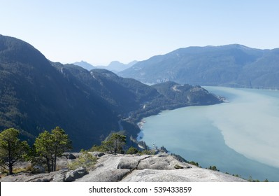 View of Howe Sound from the summit of the Stawamus Chief, Squamish, British Columbia, Canada
