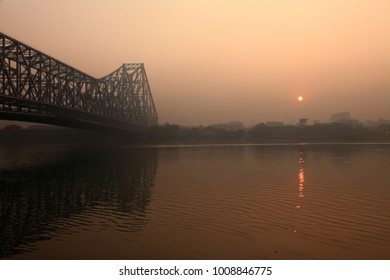 View of Howrah bridge in a foggy morning