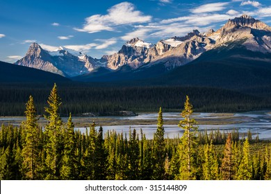 View of Howse Pass, Jasper National Park, Alberta, Canada.