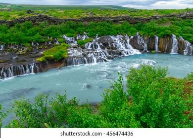 View of the Hraunfossar waterfall, in Borgarfjordur, western Iceland