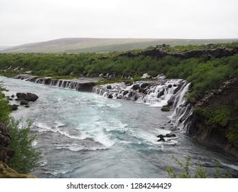 View of Hraunfossar Waterfall on Hvita River, Iceland
