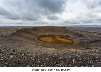 View of Hrossaborg crater in Iceland