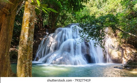 View of Huay Mae Kamin waterfall in Khuean Srinagarindra National Park, Kanchanaburi, Thailand