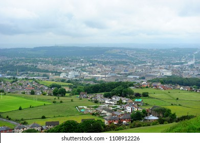 View of Huddersfield town from Castle Hill, England, UK