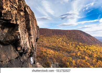 View of the hudson highlands along side a sheer cliff face from the breakneck ridge trail New York