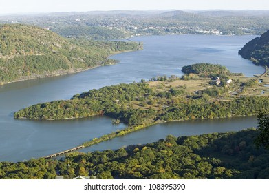 View of Hudson Valley and River at Bear Mountain State Park, New York