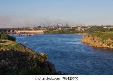 """View of the huge hydroelectric power station """"Dniproges"""" in the city of Zaporizhzhya. Ukraine"""