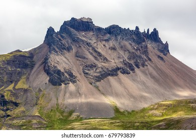View of huge rock of icelandic mountains