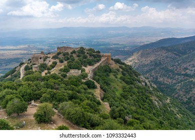 View of Hula Valley landscape and the Nimrod Fortress, a 13th century Muslim castle in northern Israel, now a national park