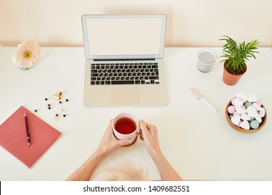 View of human hands holding cup of tea among office supplies, flowers, scented candle and marshmallows on desk