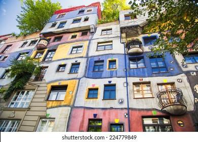 The view of Hundertwasser house in Vienna, Austria