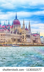 View of Hungarian Parliament building from Danube river, Budapest, Hungary