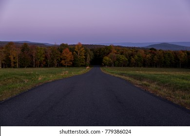 A view of Hunter Road from Blue Hill looking east towards Sugarloaf Mountain and Thunder Hill in the Catskill Mountains of New York.