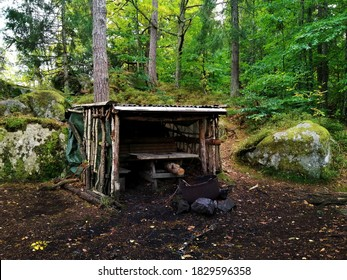 A view of a hut in the middle of the first in Larvik, Norway