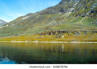 A view of the Hvalsey mountainside and fjord near Qaqortoq, Greenland. Vikings settled in 985 AD.  At 12th Century church on Sept. 14, 1408, Thorstein Olafsson and Sigrid Björnsdottir were married.