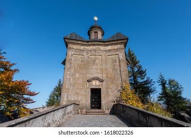 View of Hvezda church in Broumovske steny,  Adrspach rocks,  Czech republic - Shutterstock ID 1618022326