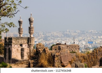 View of Hyderabad cityscape from Golkonda fort walls.