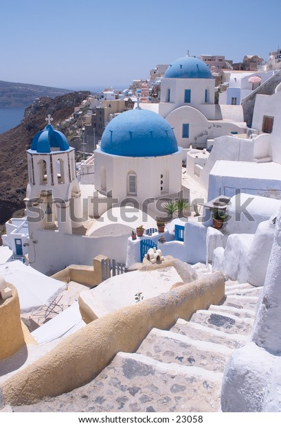 A view of Ia (or Oia), on vocanic Santorini island, Greece. One of the Mediterranean's most famous holiday destinations.
