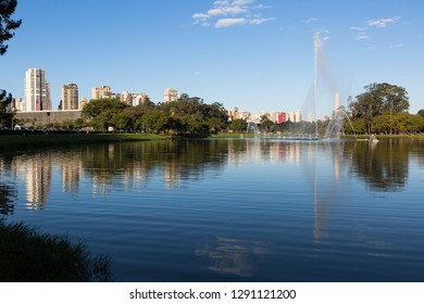 View of Ibirapuera Park with the fountain and the Obelisk in the background, Sao Paulo - Brazil