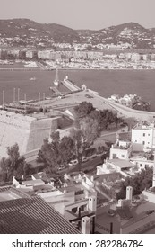 View of Ibiza Harbor, Balearic Islands, Spain in Black and White Sepia Tone