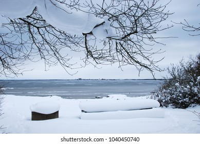 View at an ice covered bay at the swedish island Oland in the Baltic Sea