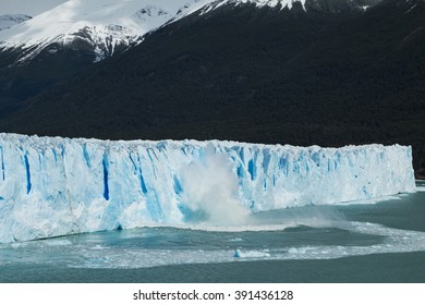 View of ice falling from the side of the Perito Moreno Glacier in Argentina