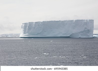 An view of an iceberg in the ocean in the Antarctic