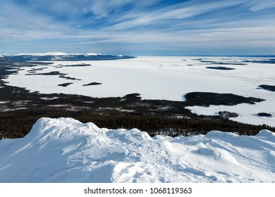View of the ice-covered the White sea, Russia