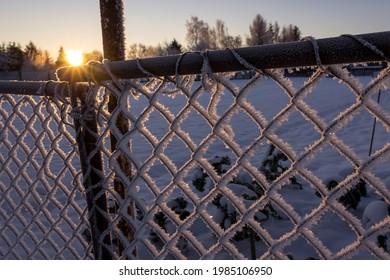 Blick auf einen Eisenzaun. Weiße Eiskristalle haben sich gebildet. Im Hintergrund sieht man den Sonnenaufgang nach einer sehr kalten Nacht. In Altmark, Sachsen-Anhalt gesehen.