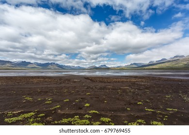 View of icelandic lake on a mountain's background
