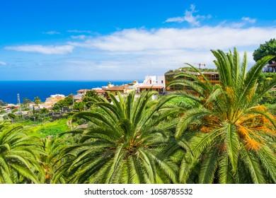 View of Icod de los Vinos town with Canarian colorful houses, Tenerife, Canary Islands