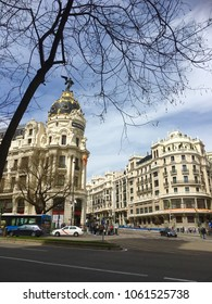 View of iconic architecture on Gran Via on sunny day, Madrid, Spain, Europe 1-4-2018