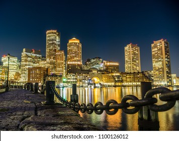 A view of the iconic Boston skyline from fan-pier park in the Seaport area of the city