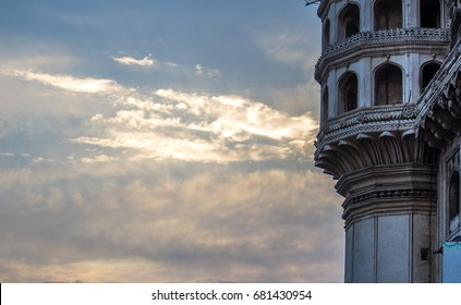 View of iconic Charminar at sunset, Hyderabad