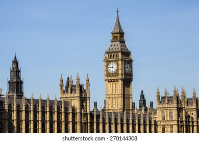 A view of the iconic clock tower of the Houses odf Parliament in London.