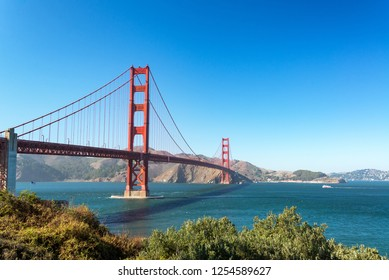 View of the iconic Golden Gate Bridge in San Francisco, California