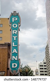 View of the iconic Portland sign in downtown Portland, Oregon