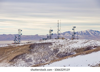View of iconic radio transmission towers above Salt Lake City from Ensign Peak trail.