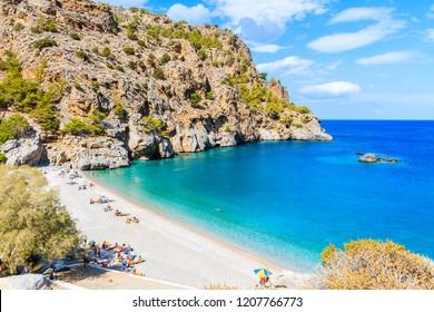 View of idyllic Achata beach, Karpathos island, Greece