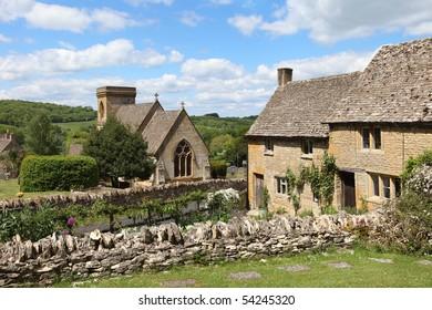 View of idyllic Cotswolds village of Snowshill near Broadway, England