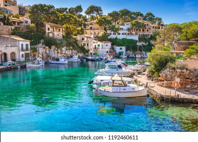 View of idyllic old fishing village harbor of Cala Figuera, Santanyi Mallorca