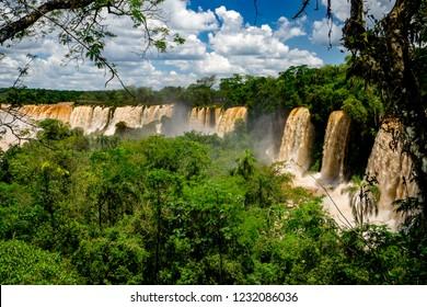 View of Iguazu Falls amidst lush jungle in Parque Nacional Iguazú in north eastern Argentina