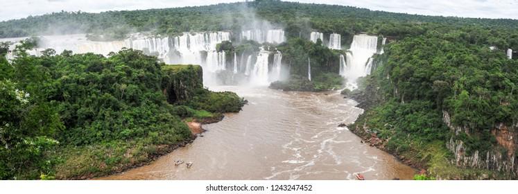 View of Iguazu waterfalls on Brazil