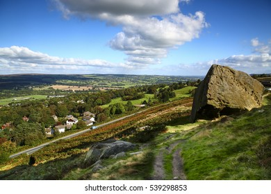 View of Ilkley Yorkshire England UK from the moors