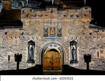 View to illuminated Castle at night. Edinburgh. Scotland. UK.