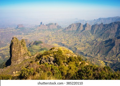 View from the Imet Gogo Summit 3926m. Simien mountains National Park. Ethiopia.