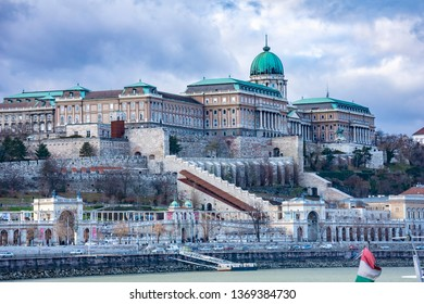 View of the impressive Buda Castle Royal Palace in Budapest, Hungary, Europe