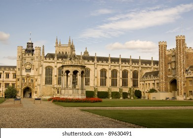 View of the impressive Great Court at Trinity College, University of Cambridge.  Including the fountain, the Great Gate and clock tower.  The film Chariots of Fire was partly set here.