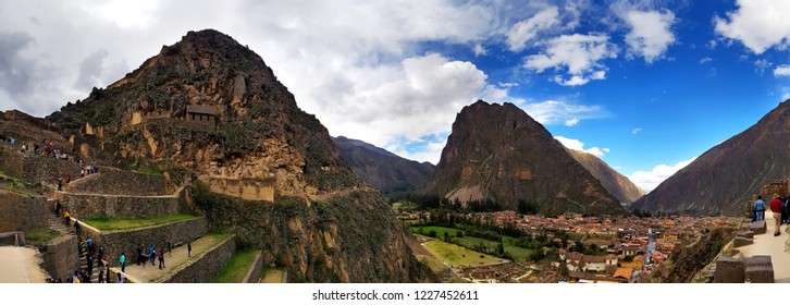View of inca archaeological site with the Sun Temple, Ollantaytambo, Peru