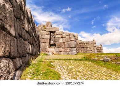 View at the Incan ruins of Sacsayhuaman in Cusco, Peru.